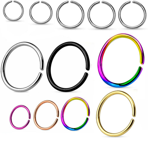 Rounded Ends Cut Rings Titanium Anodized over 316L Surgical Steel Annealed