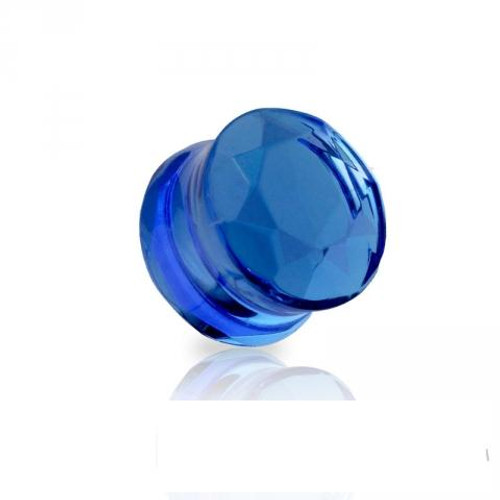 Blue Faceted glass Double Flared Saddle Tunnel