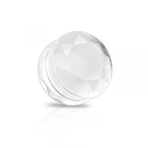 clear Faceted glass Double Flared Saddle Tunnel