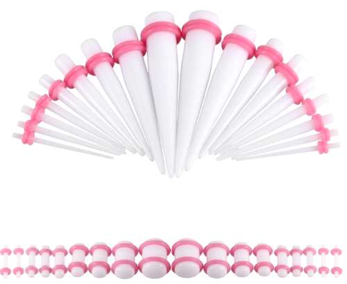 Pink Oring On White Colored Acrylic tapers Ear Stretching Kit