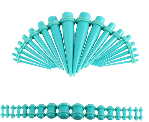 Teal  Oring On Teal Colored Acrylic tapers Ear Stretching Kit