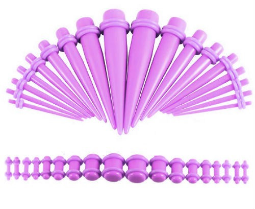 Purple Oring On Purple Colored Acrylic tapers Ear Stretching Kit