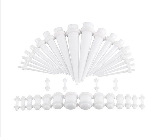 White Oring On White Colored Acrylic tapers Ear Stretching Kit