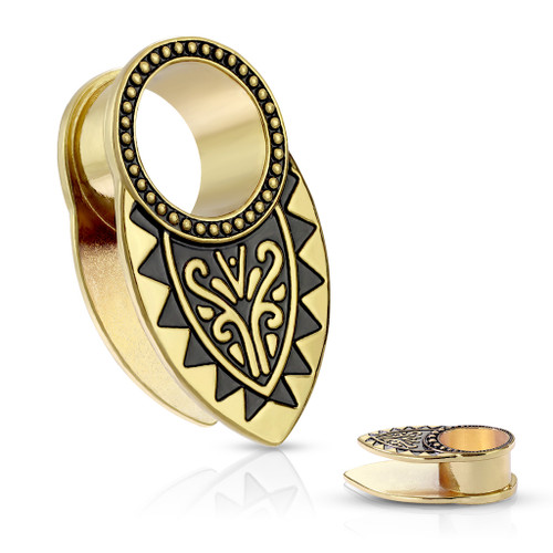 Tribal Filigree Ear Bib Gold Plated ear plug Tunnels