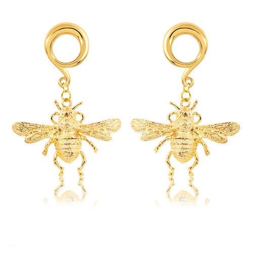 Gold Plated Bee  weighted spiral hook hangers surgical steel