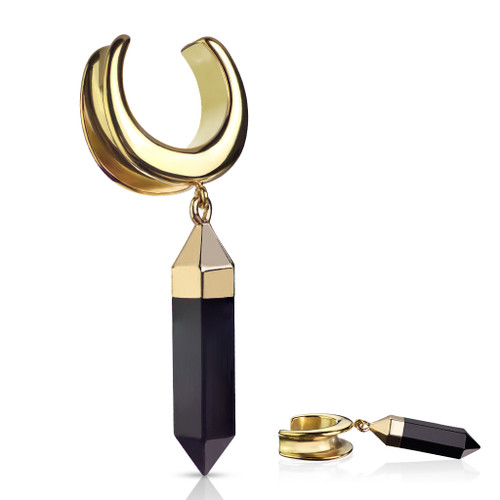 Saddle Spreader with Onyx Dangle PVD Gold Over 316L Surgical Steel