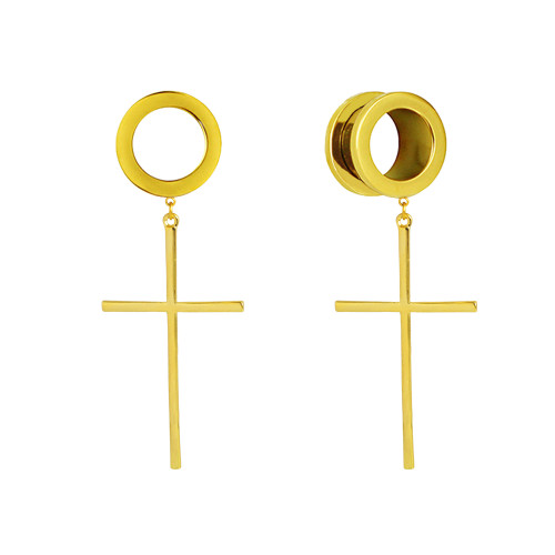 Gold Large stainless steel dangle cross screw back ear plugs
