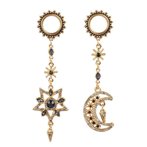 Gypsy golden gems moon and star screw back stainless steel ear plugs dangle