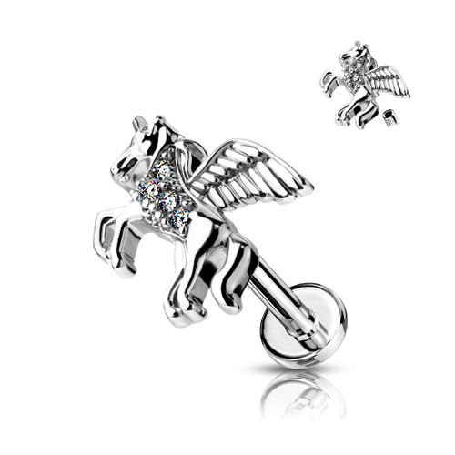 CZ Paved Unicorn on Internally Threaded 316L Surgical Steel Flat Back Studs for Labret, Monroe