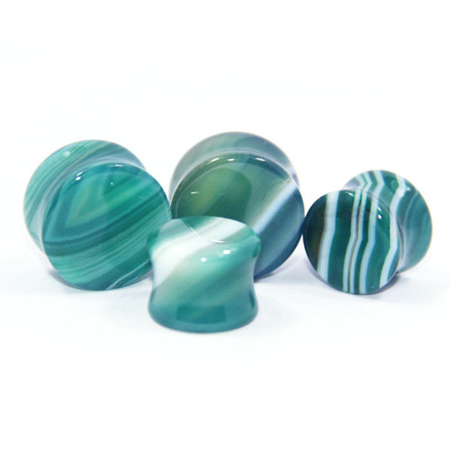 Green line agate stone ear plugs double saddle gauges