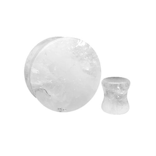 cloudy quartz double saddle stone ear plug gauges