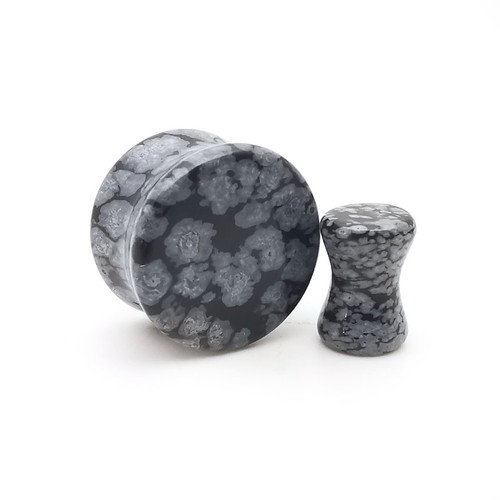Snowflake  Obsidian  Natural  Stone Ear Gauges plugs
