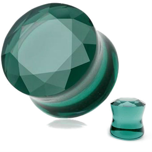 Ocean Teal Green Faceted glass Double Flared Saddle Tunnel
