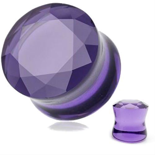 Glass Purple Faceted  Double Flared Saddle ear plugs