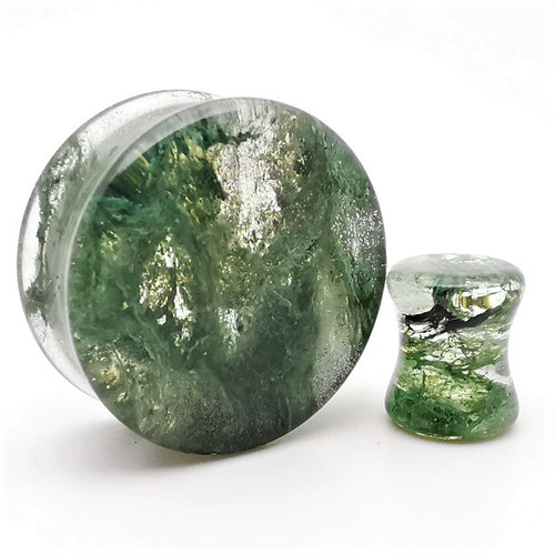 Moss green glass plugs  Ear Gauges