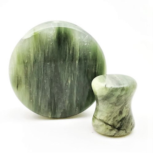 Green Line Jasper plugs  Ear Gauges