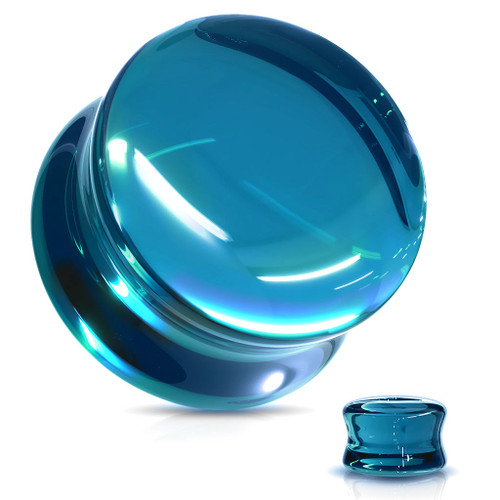 Blue  Glass  Double Flare ear plugs