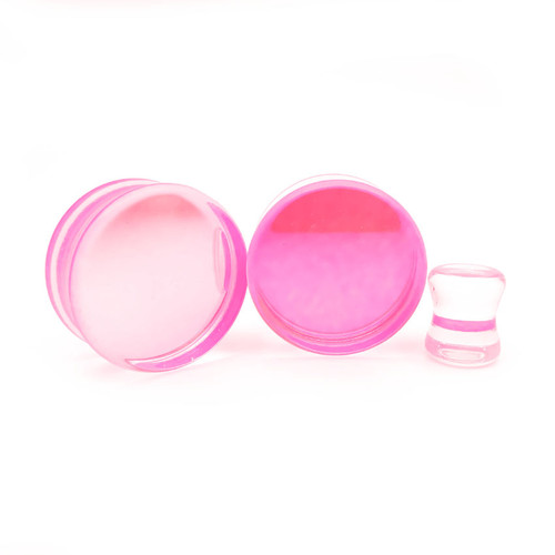 Aurora Borealis Pink  Glass  Double Flare ear plugs