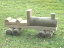 Outdoor Large Hand Made Wooden Train Lumber Goods Carriage