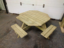 Outdoor Large Hand Made Wooden Octagonal Picnic Table with Seating