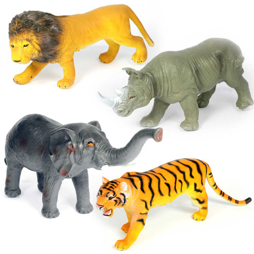 Safari Animals Jumbo Soft Touch Distinctive Set of 4