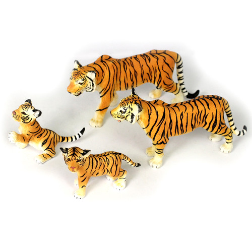 Small Tiger Family, Different Sizes Realistic Detail Set of 4