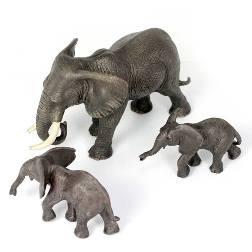Small Elephant Family, Different Sizes Realistic Detail Set of 3
