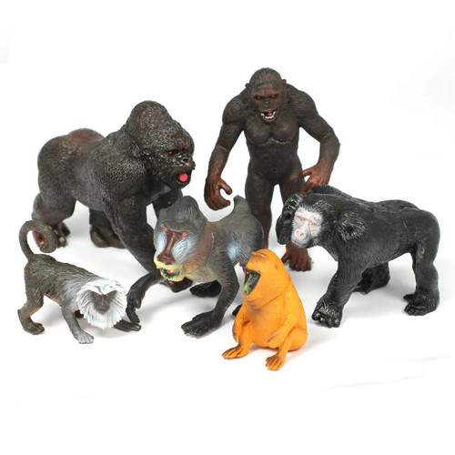 Monkey and Primate Realistic Small 4-8 Inch Set of 6
