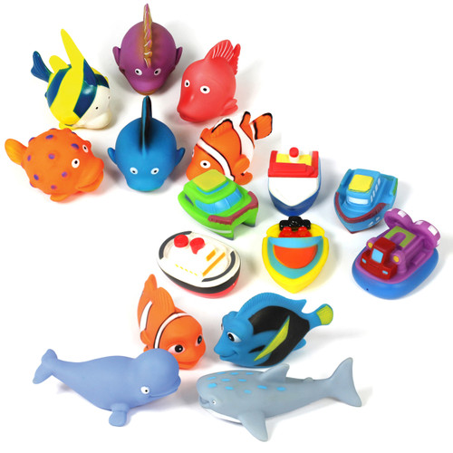 Role Play Boats Fish and Large Fish Very Soft, Can Play In Water 16 Piece Set