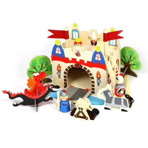 A complete small world play set, that can be tidied away with carry handle. Everything needed to have a medieval adventure.