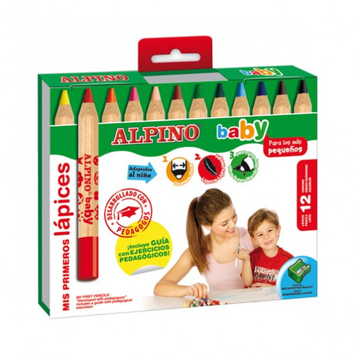 Baby Coloured Pencils Alpino Set of 12 + Sharpener
