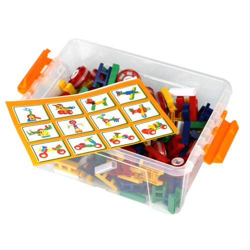 200PC Construction Set Plastic Parts Various Colours