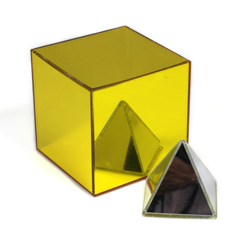 A set of gold and silver metallic mirror blocks for making interesting and eye catching structures.