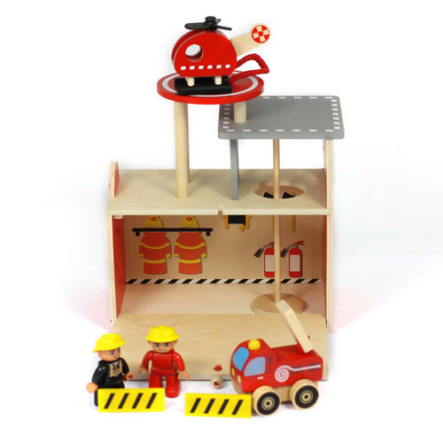 Portable Wooden Fire Station Playset 2