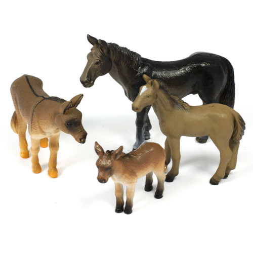 4pc Horse And Donkey Animal Bundle