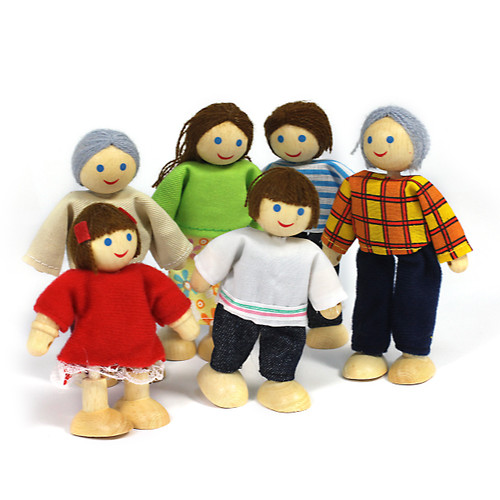 6Pc Wooden Family Poseable Charachters