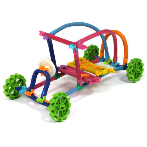 A construction set containing bendable flexible tubes, connectors, cogs and additional magnetic accessories.