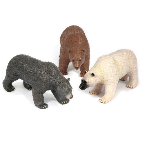 "16"" Soft Feel White, Brown and Black Bear Bundle"