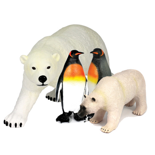 The Arctic friend's soft touch play set contains our jumbo Polar bear and large Polar Bear, with two Large Penguins, all soft feel!