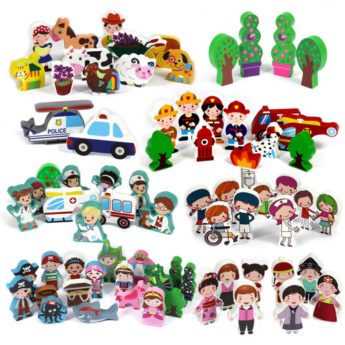 Assorted Bundle 15mm Wooden Characters 72pcs