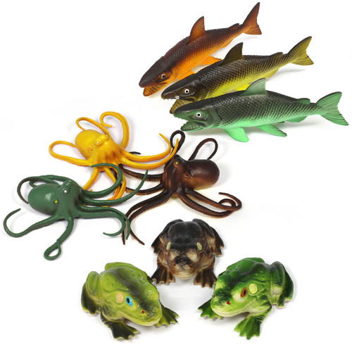 7inch Marine Life Octopus Salmon Frog Set of 9