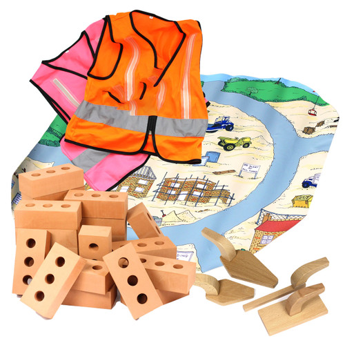 Construction Set 10 x Vests, Bricks, Tools and Tray Insert