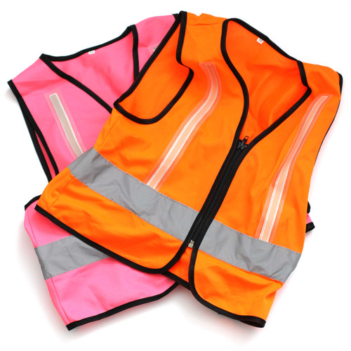 Children's Hi Visibility Illuminated Vests x 10 Pink and Orange