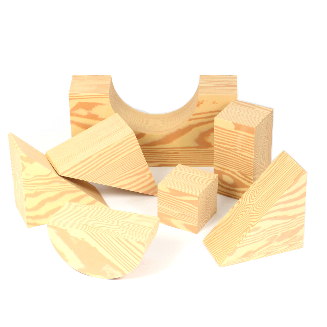 Bricks Natural Wood Effect, Soft Foam Mixed Shapes Set of 32