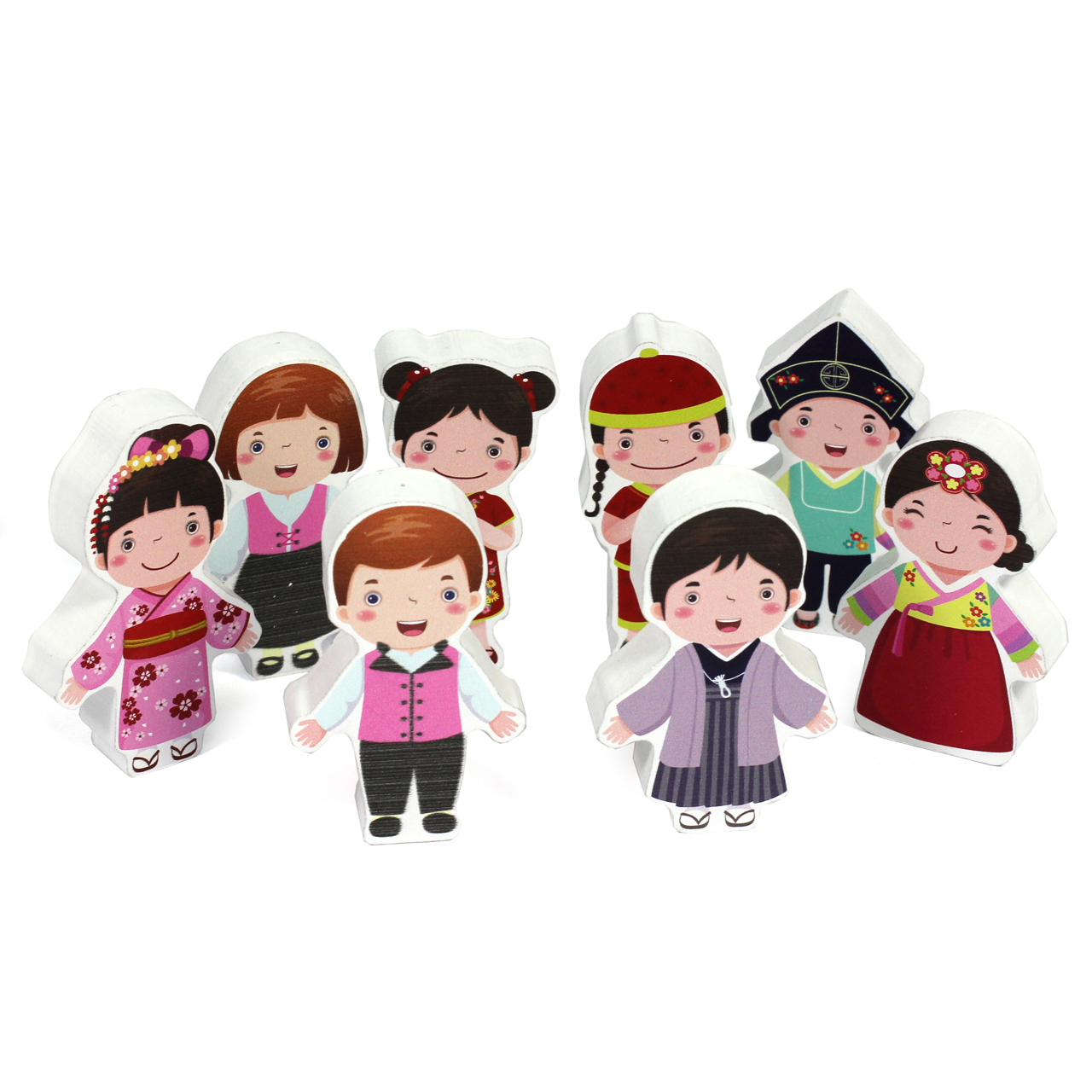 8Pc 15mm Thick Multicultural Character Group