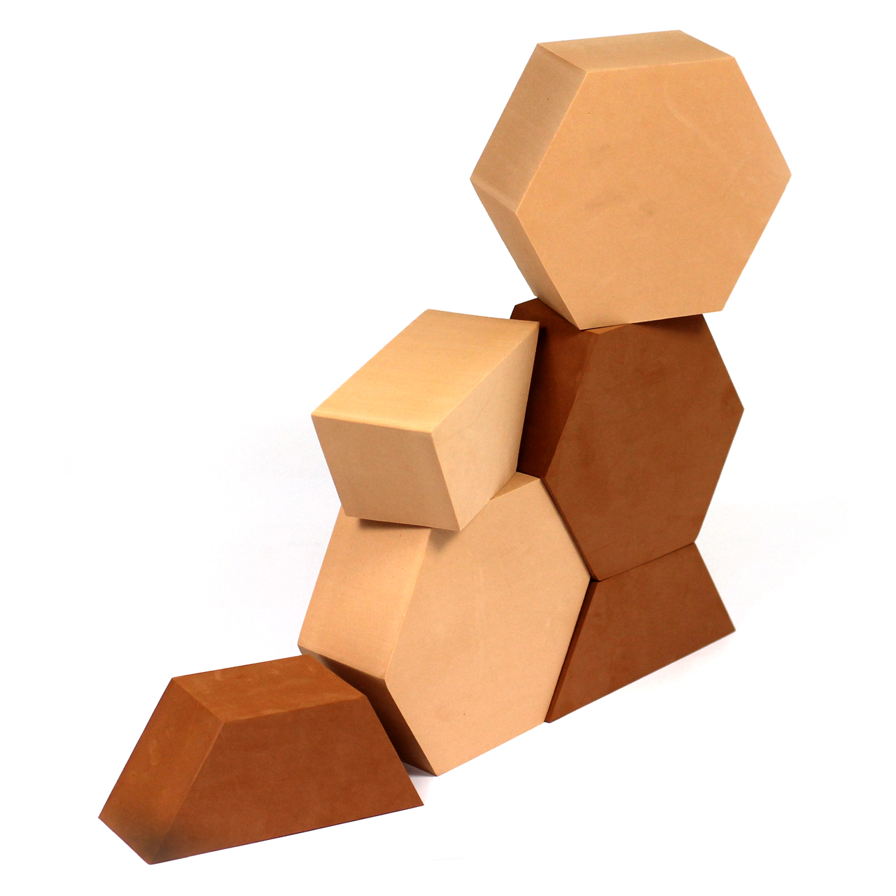 Red And Brown Foam Hexagon Building Set 24pcs