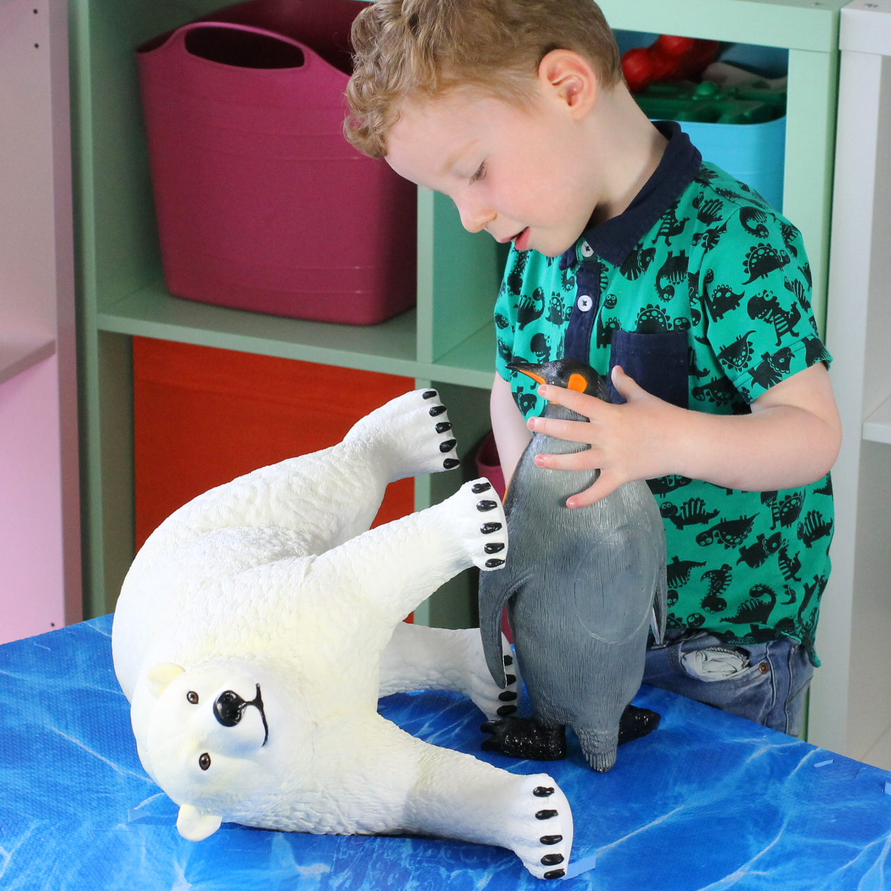 Initiate play and learning, children can let the animals roam free or build them a habitat to live in.