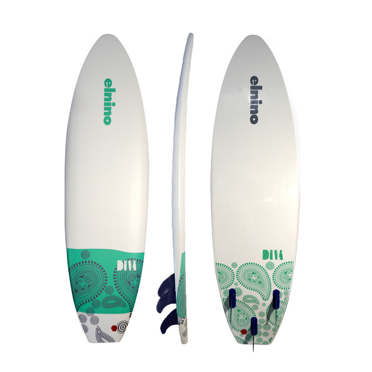 """Elnino Diva - white deck and white slick with """"diva"""" pattern. With single swivel legrope and detachable triple fin system (75kg learner - 85kg exper)"""