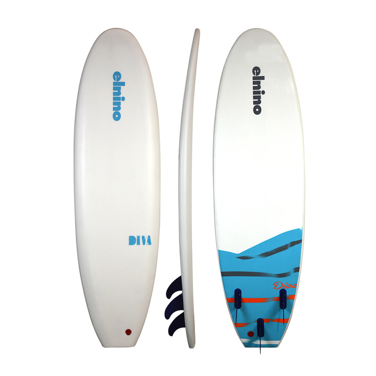 """Elnino Diva - white deck and white slick with """"diva"""" pattern. With single swivel legrope and detachable triple fin system (up to 85kg learner - 95kg exper)."""