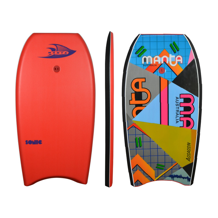 Manta Sonic - Red Deck with Manta retro slick. Offers Manta quality in entry level bodyboards. Comes with plug, web leash and a lot of style. Start here.